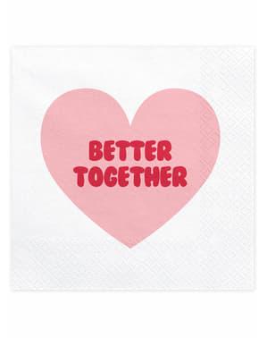 20「よりよく一緒に」ハートナプキン - バレンタインコレクションのセット