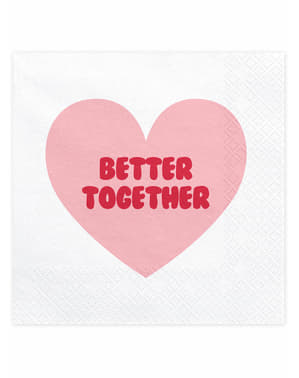 "20 guardanapos com coração ""Better Together (33x33 cm) - Valentine Collection"