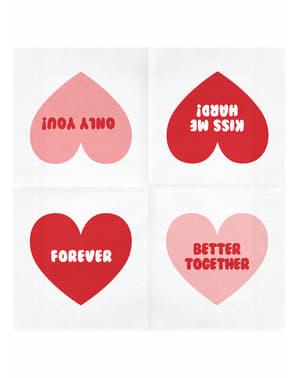 Комплект от 20 салфетки за сърце
