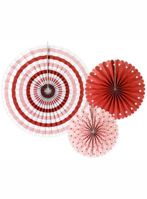 3 papierowe wachlarze dekoracyjne w paski i serca - Valentine Collection