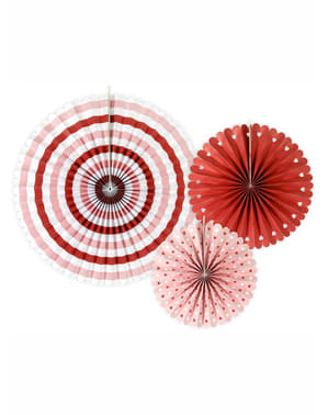 3 decorative paper fans with stripes and heart (21-15-38 cm) - Valentine Collection