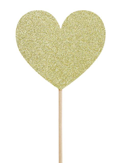 6 toppers decorativos dorados de corazón - Valentine Collection