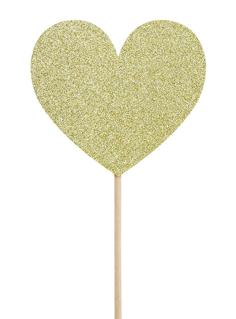 6 Gold Hearts Cupcake Toppers - Valentine Collection