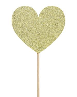 6ゴールドハートカップケーキトッパー - バレンタインコレクションのセット