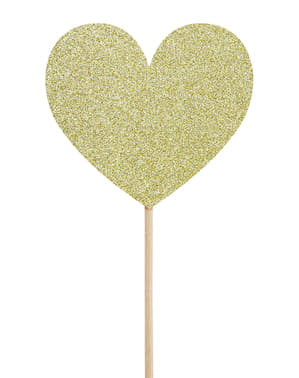 Herz Deko Sticks Set 6-teilig in gold - Valentine Collection