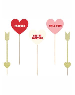 Sett med 5 Hjerter & Arrows Dekorative Matpinner - Valentine Kolleksjon