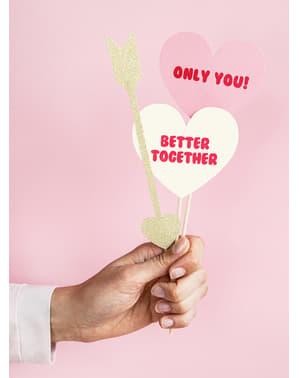 5 bețișoare decorative cu inimioare și săgeți - Valentine Collection