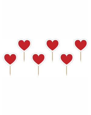 6 rood witte Hartjes Cupcake Toppers - Valentijn Collectie