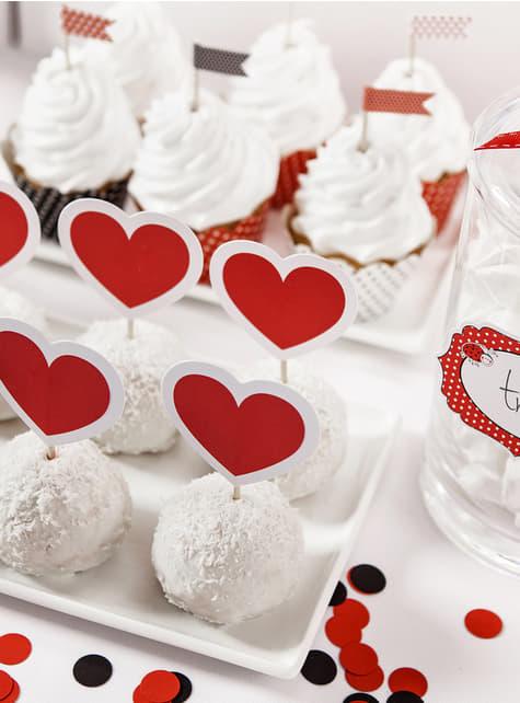 6 toppers decorativos de corazones rojos y blancos - Valentine Collection - para tus fiestas