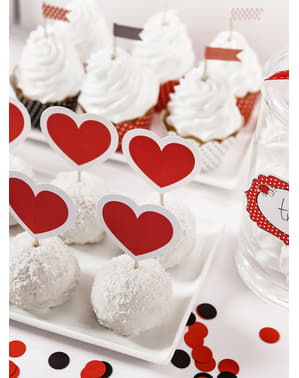 6 Røde og Hvide Hjerte Muffin Toppers - Valentine Collection