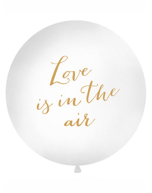 Kæmpe Love Is In The Air hvid ballon - Valentine Collection