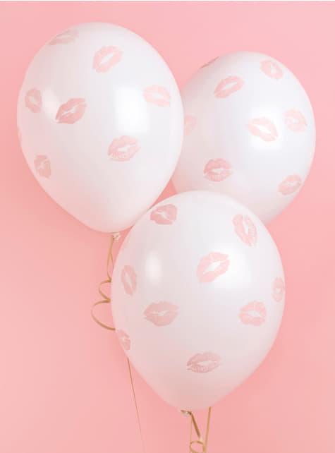 Rosa Küsschen Luftballon Set 6-teilig
