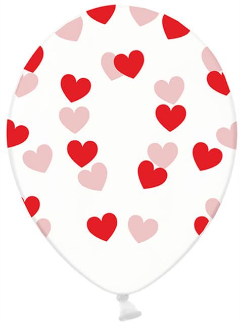 Set de 6 globos de látex transparentes con corazones rojos - Valentine Collection