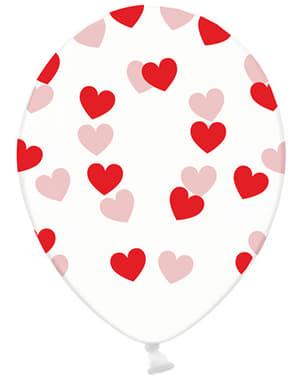 Latex-Luftballons transparent mit roten Herzen Set 6-teilig - Valentine Collection