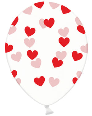 6 Clear Latex Balloons With Red Heart (30 cm) - Valentine Collection