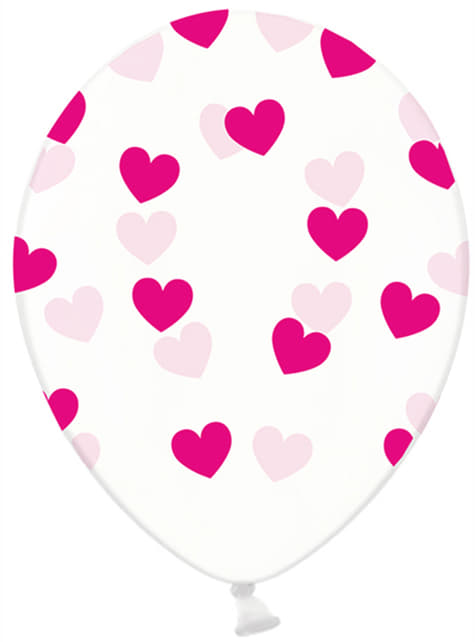 6 globos de látex transparentes con corazones rosas (30 cm) - Valentine Collection