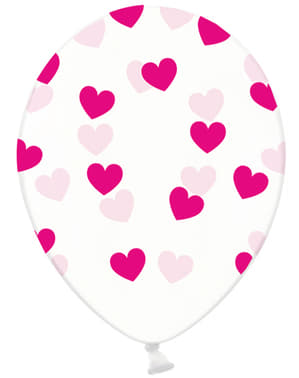 6 Clear Latex Balloons With Hot Pink Heart (30 cm) - Valentine Collection
