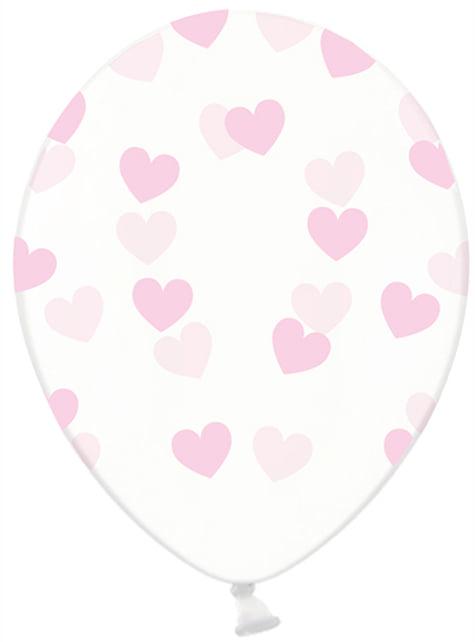 Set de 6 globos de látex transparentes con corazones rosa claro - Valentine Collection