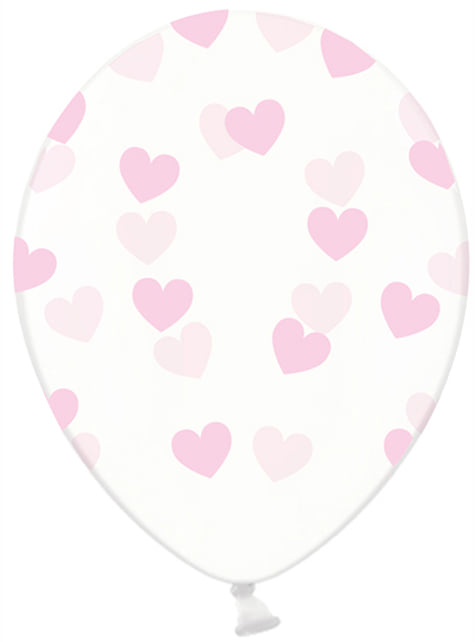 Set of 6 Clear Latex Balloons With Light Pink Hearts - Valentine Collection