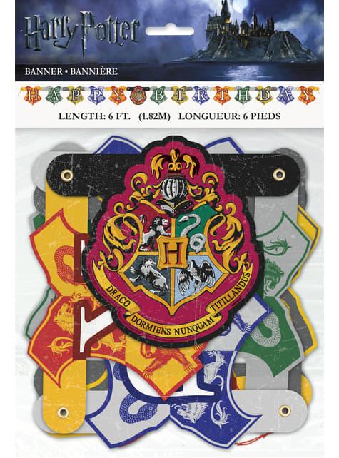 Guirnalda Happy Birthday Harry Potter - Hogwarts Houses - para tus fiestas