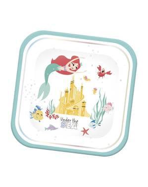 4 pratos quadrados de A Pequena Serei (24 cm) - Ariel Under the Sea