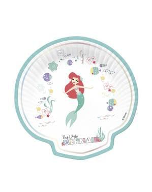 4 tallrikar i form av snäckor med Lilla Sjöjungfrun (30x20 cm) - Ariel Under the Sea