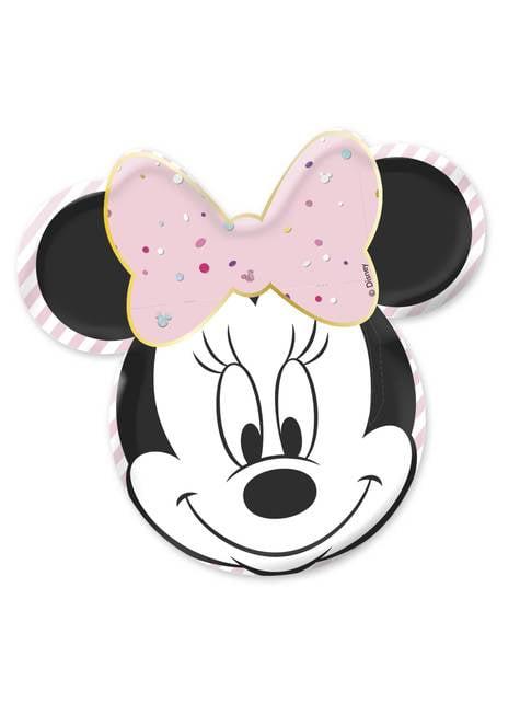 4 piatti a forma di faccia di Minnie Mouse- Minnie Party Gem (32 cm)
