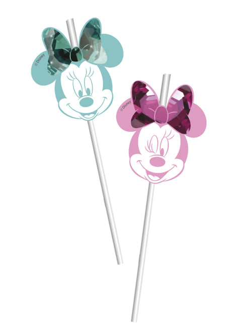 6 pajitas de Minnie Mouse - Minnie Party Gem