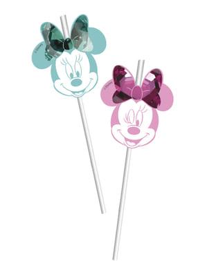 6 palhinhas de Minnie Mouse - Minnie Party Gem