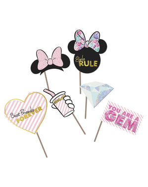 6 accesorii pentru photocall Minnie Mouse - Minnie Party Gem