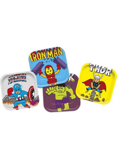 4 platos cuadrados de Los Vengadores - Avengers Pop Comic