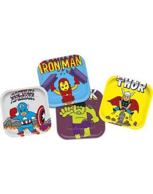 4 fyrkantiga tallrikar med The Avengers - Avengers Pop comic