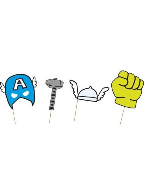 Conjunto de 6 complementos para photocall de Os Vingadores - Avengers Pop comic