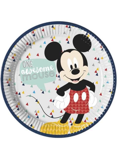 Conjunto de 8 pratos redondos de Mickey Mouse - Mickey Awesome