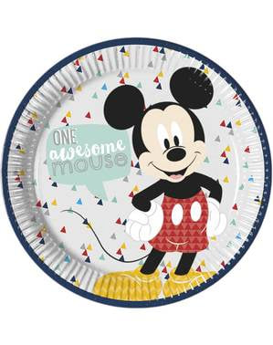 8 runde Mickey Mouse Tallerkne (23cm) - Mickey Awesome