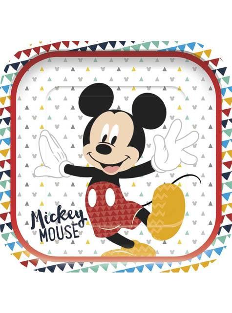 4 platos cuadrados de Mickey Mouse - Mickey Awesome