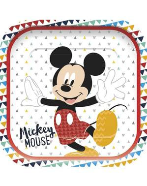 4 Mickey Mouse firkantede tallerkner - Mickey Awesome