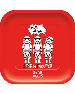 Sett med 4 Morsomme Star Wars Firkantete Tallerkener - Star Wars Paper Cut