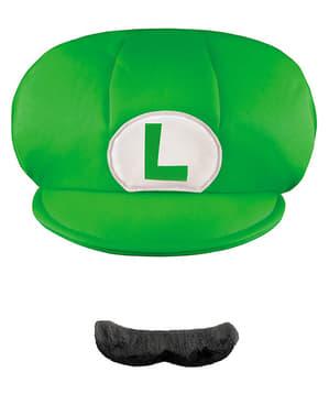 Kit gorra-bigote Luigi para niño