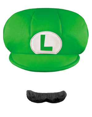 Zestaw czapka I sztuczne wąsy Luigi dla dzieci