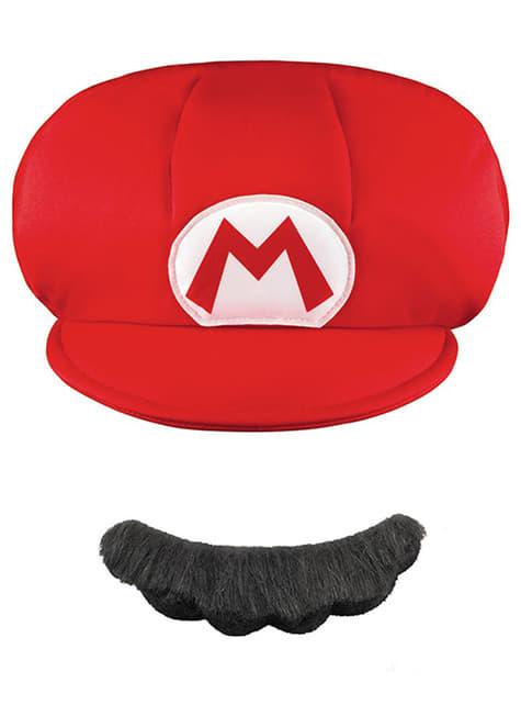 Kit boné-bigode Mario para menino