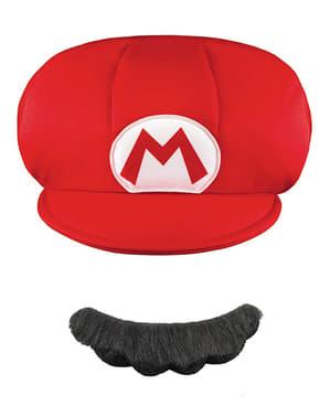 Zestaw czapka I sztuczne wąsy Mario dla dzieci