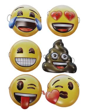 Emoji andlitsgrímur - Setja af 6