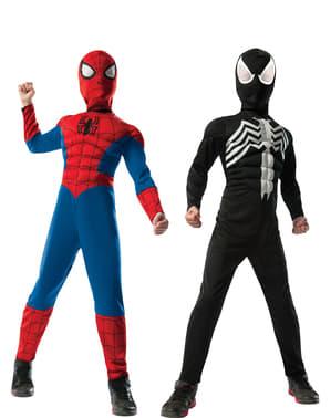 """Детски костюм на """"Върховният Спайдърмен"""" с две лица"""
