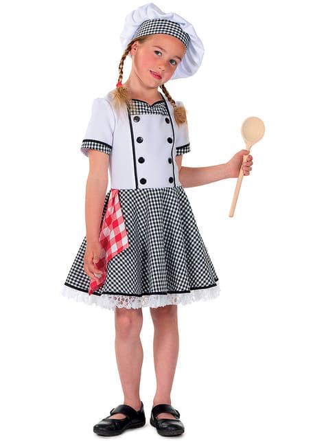 Biały Strój kucharza dla dziewczynek