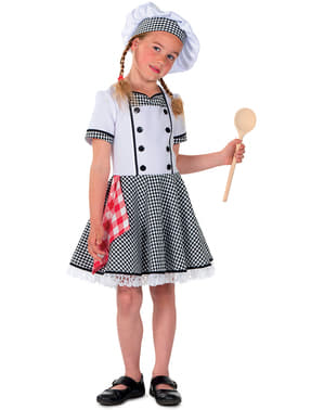 Costum de bucătăreasă alb pentru fată