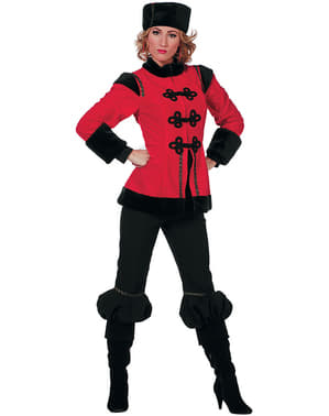 Rød kosakk kostyme til dame