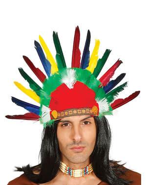 Coiffe indienne avec des plumes