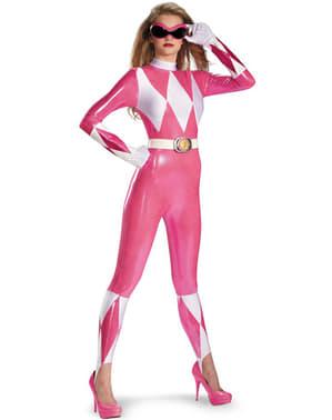 Seksikäs vaaleanpunainen Power Rangers deluxe, aikuisten asu