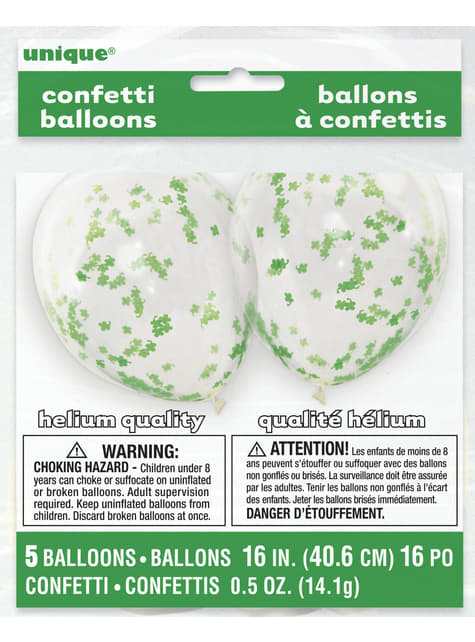 5 latex balloons with clover confetti (40,64 cm)
